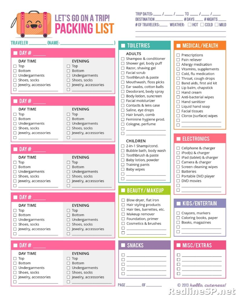 Packing List Template 28