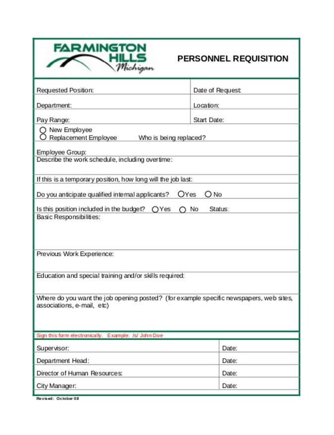 Personnel Requisition Form 03