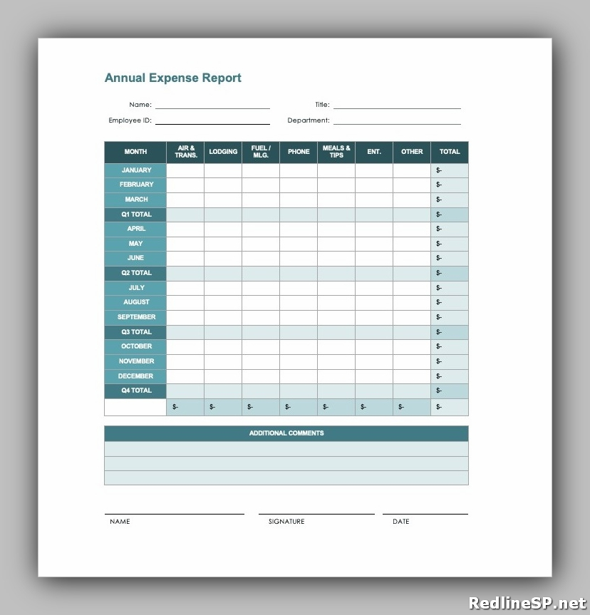 Printable Blank Expense Report