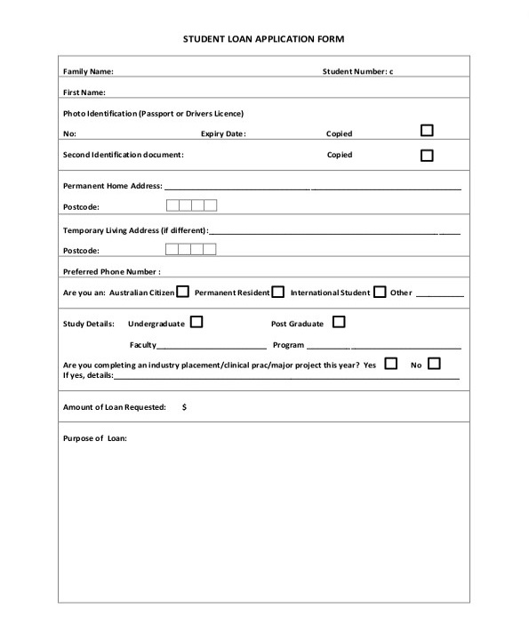 Printable Student Loan Application Form