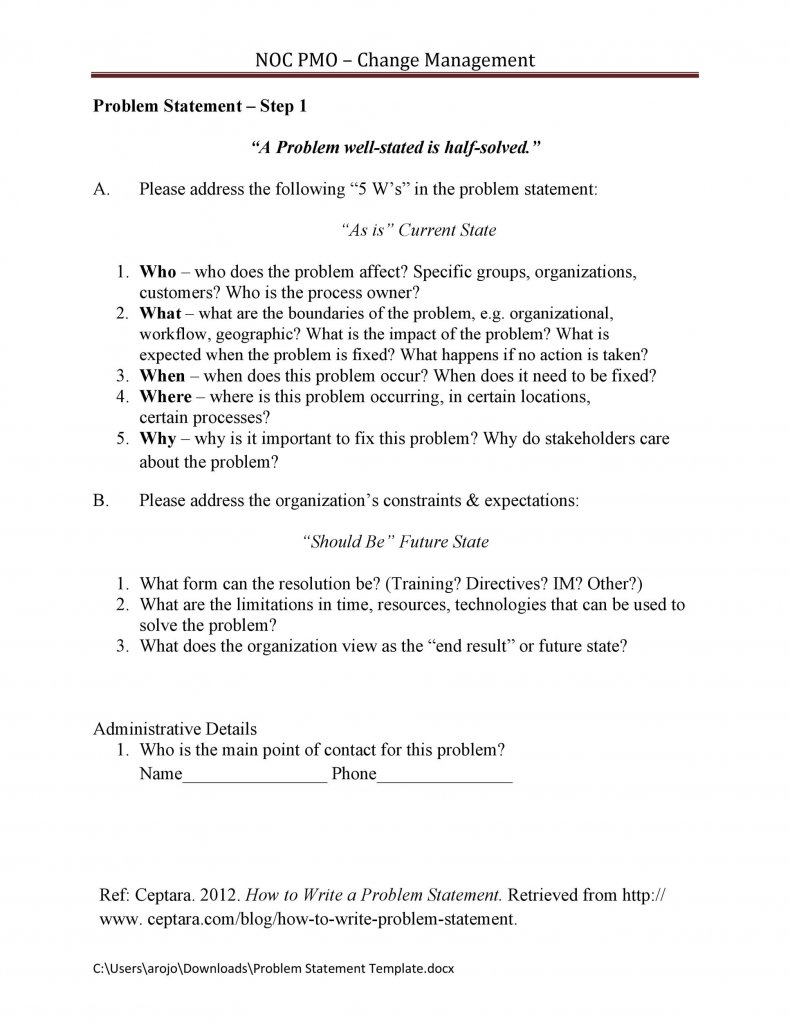 Problem Statement Template 12