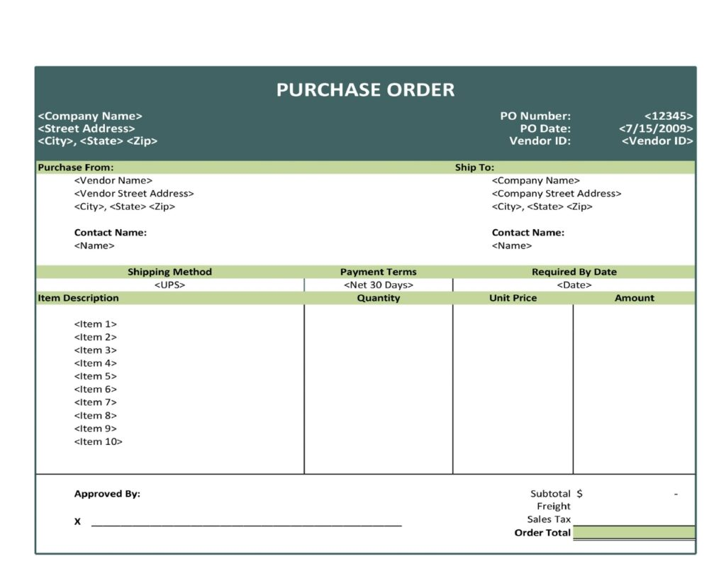 Purchase Order Fromat 22