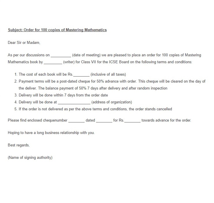 Purchase Order Letter 03