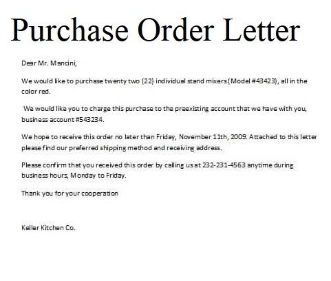 Purchase Order Letter 05
