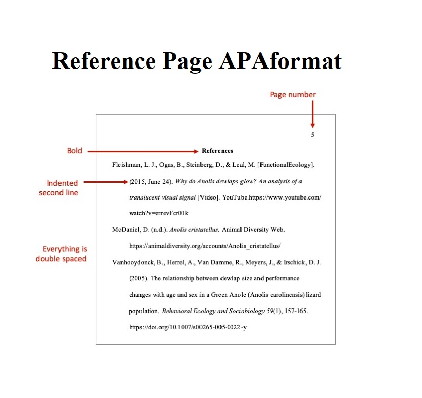 Reference Page APA Format