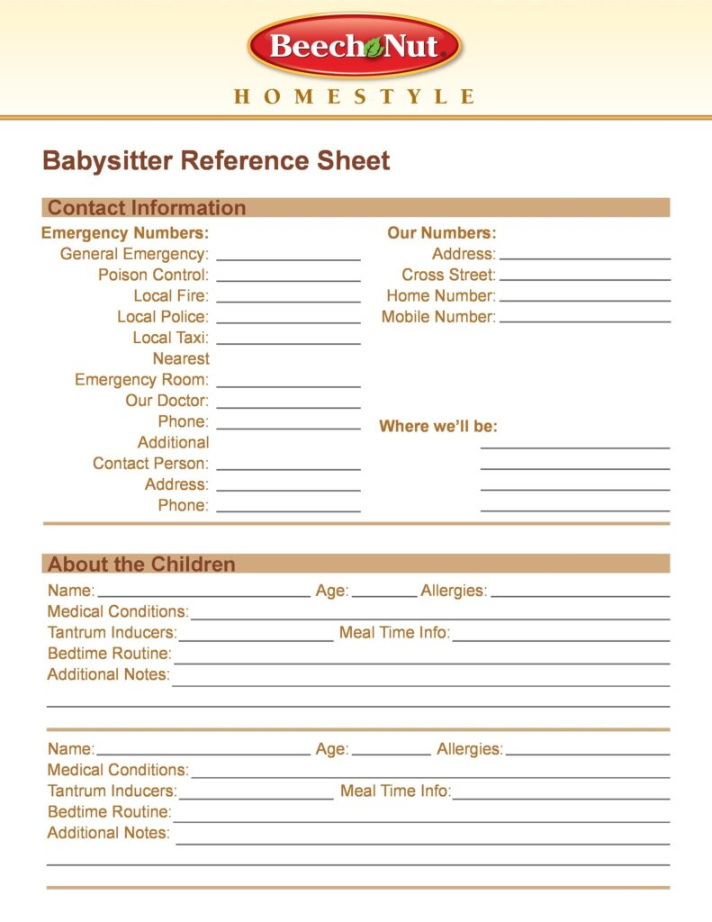 Reference Sheet Template 39