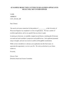 Rejection Letter Sample 18