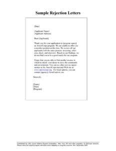 Rejection Letter Template 08