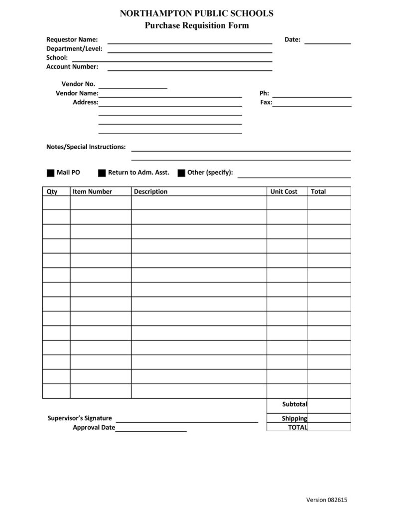 Requisition Form Template 18