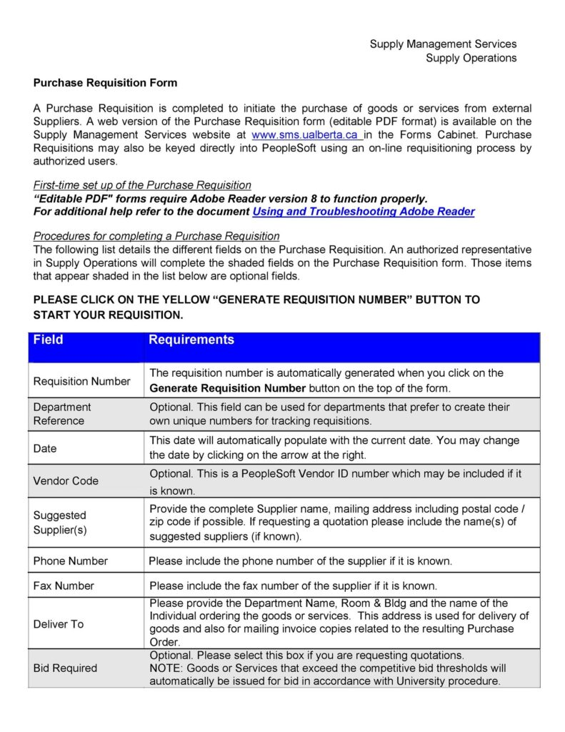 Requisition Form Template 19