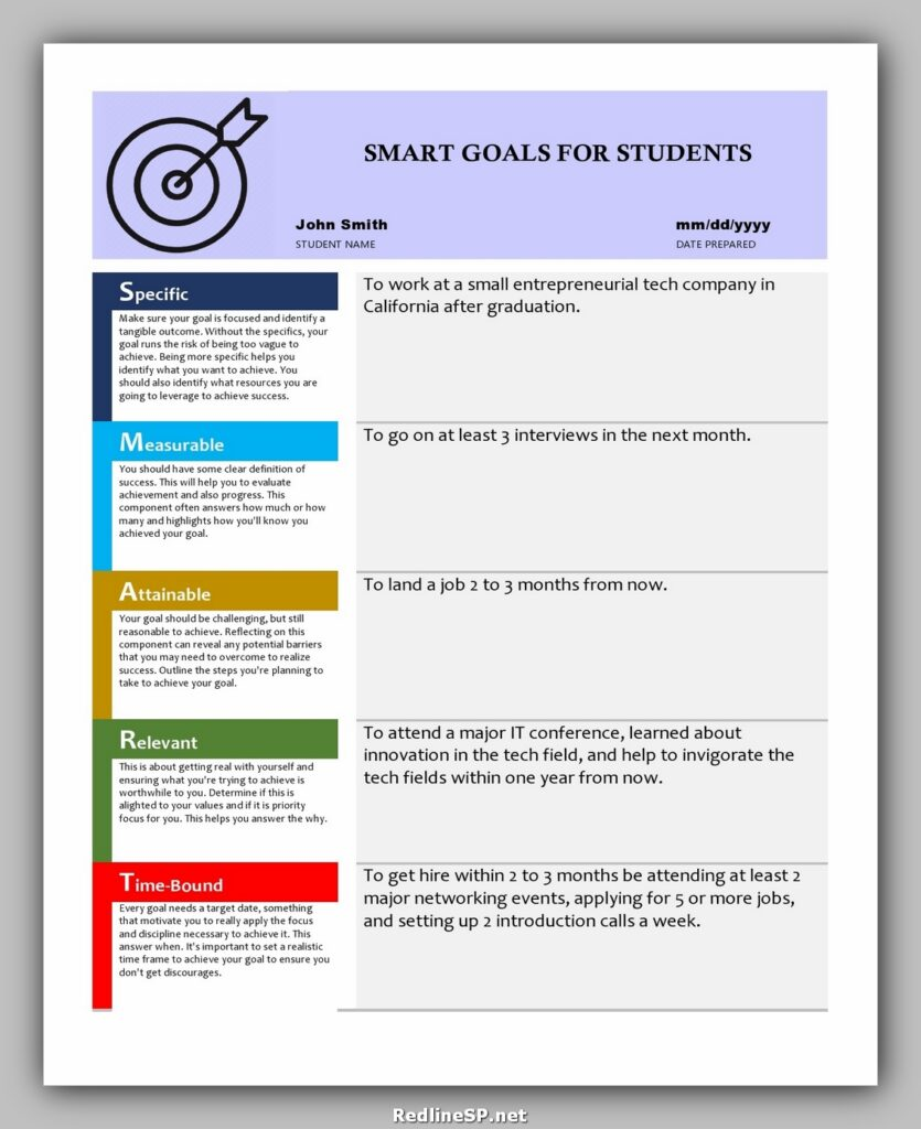 SMART Goals Template for Students