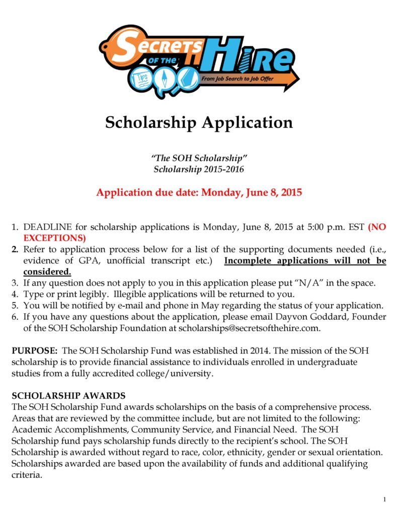 Scholarship Application Example 50