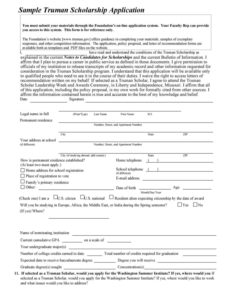 Scholarship Application Form Online 25