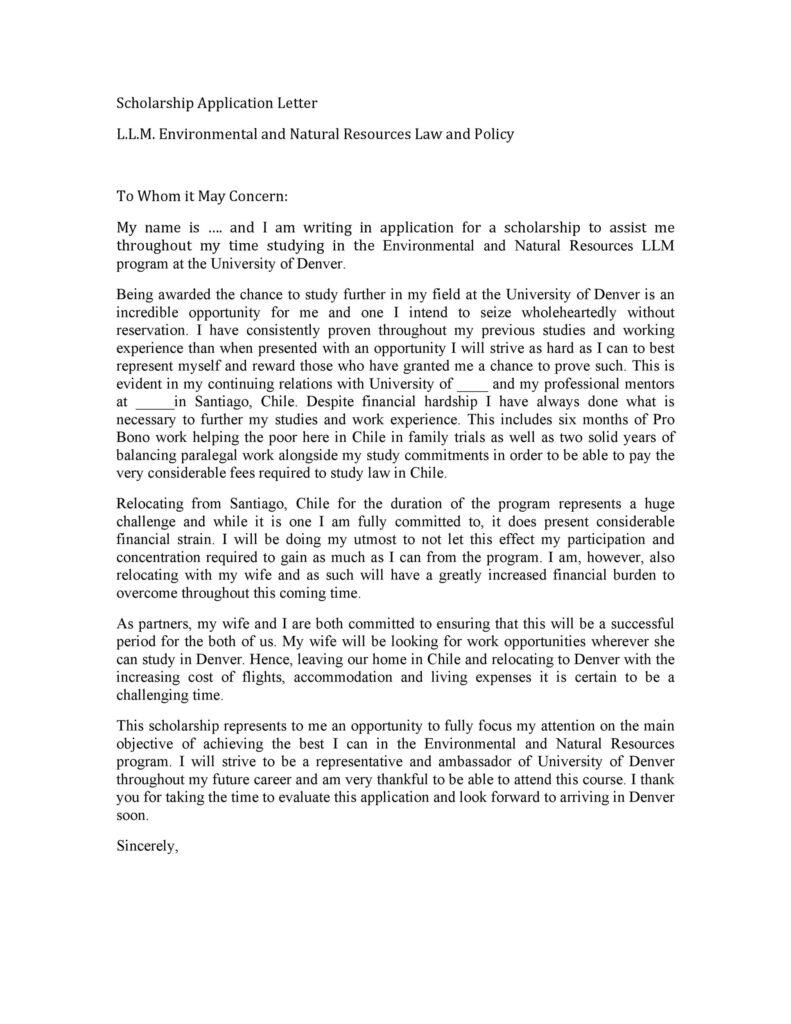 Scholarship Application Letter 04