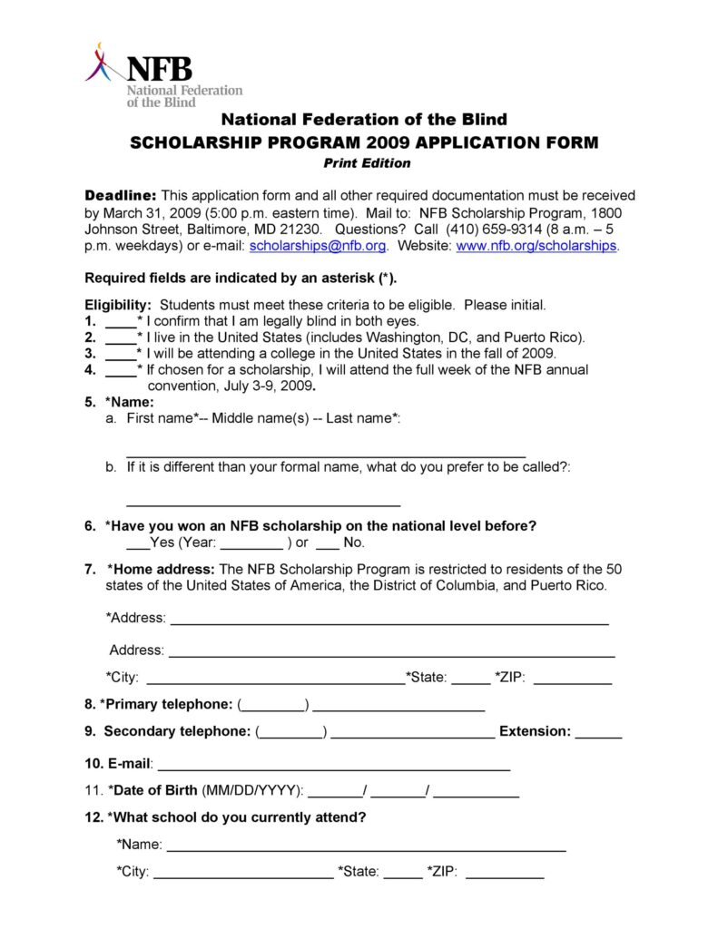 Scholarship Application Template 15