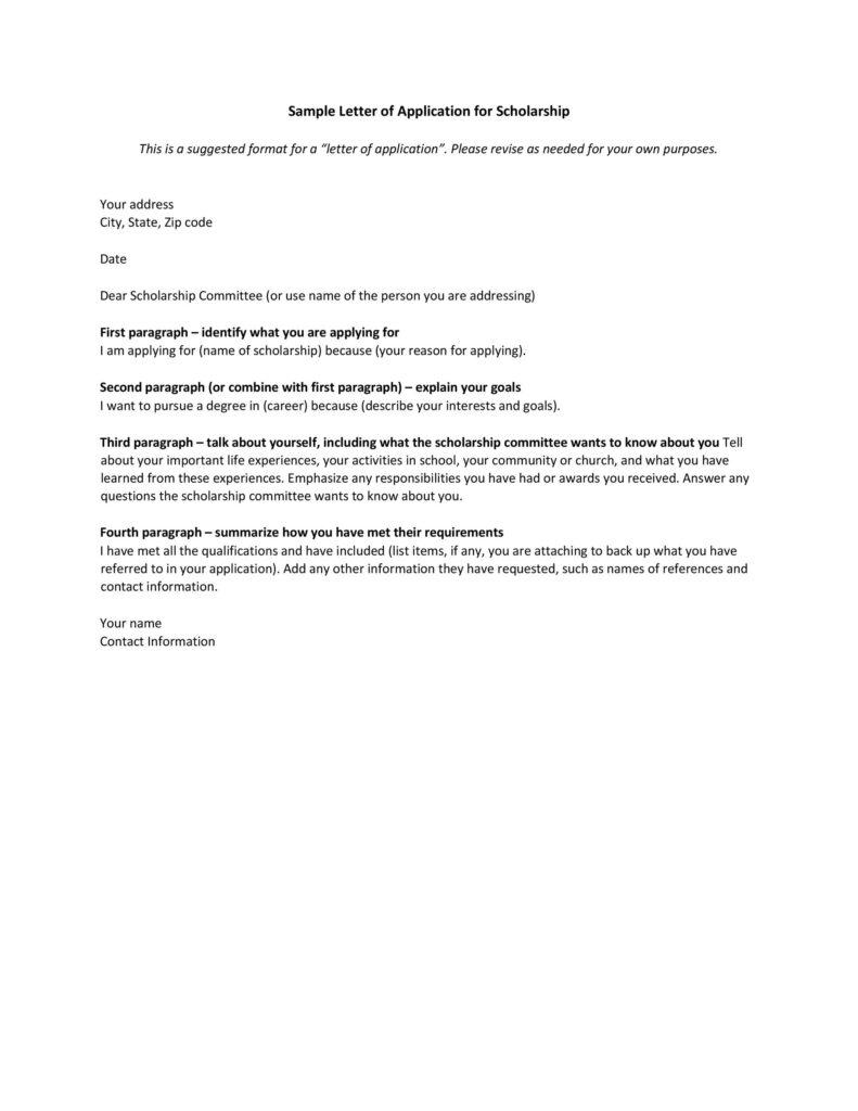 Scholarship Application Template 20