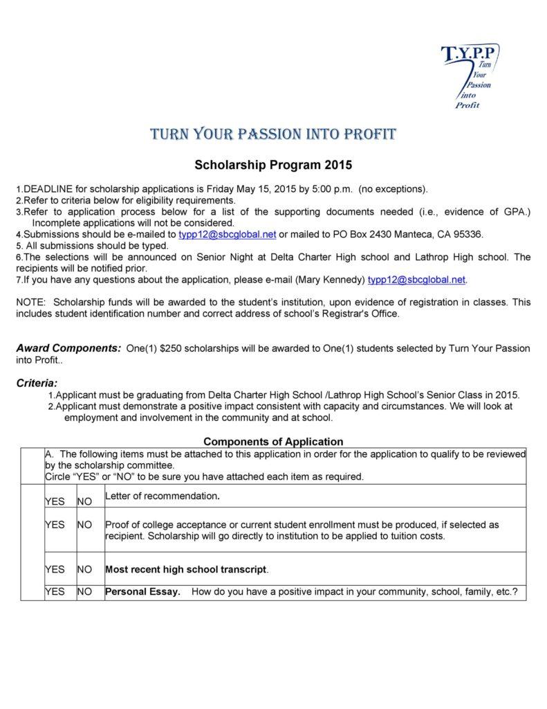 Scholarship Application Template 35