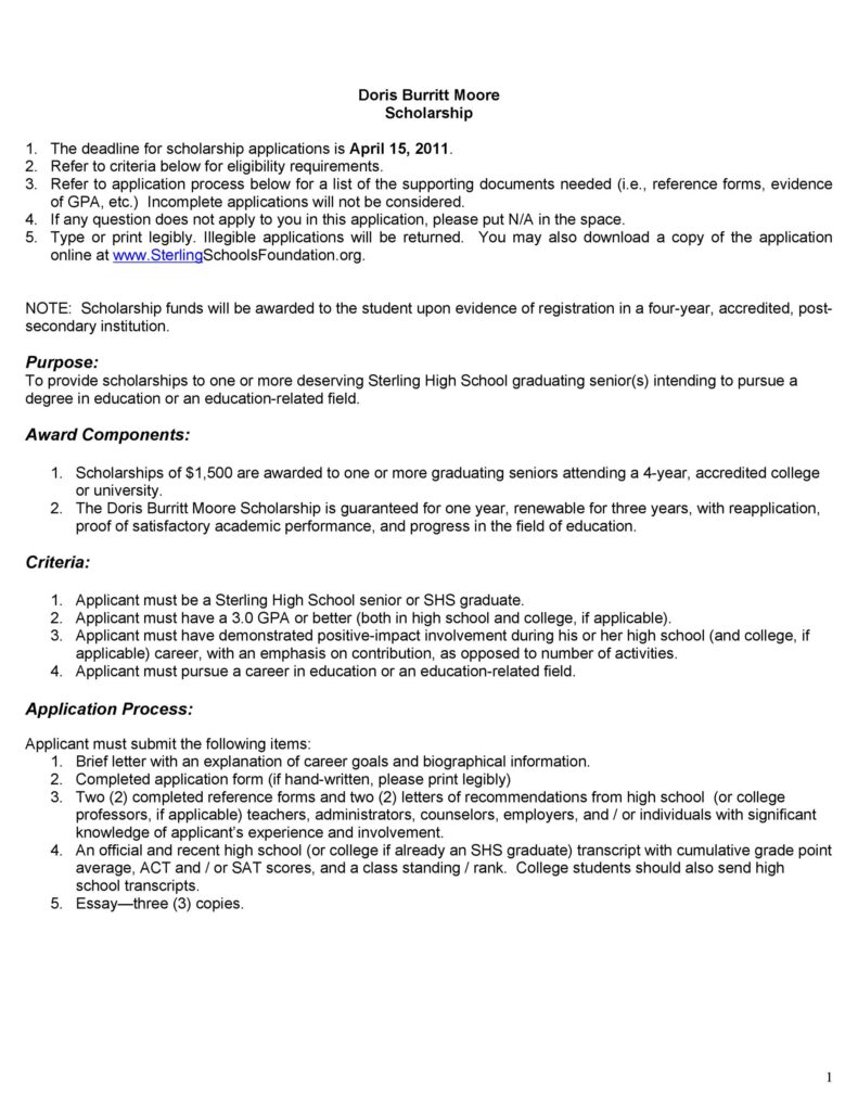 Scholarship Application Template 37
