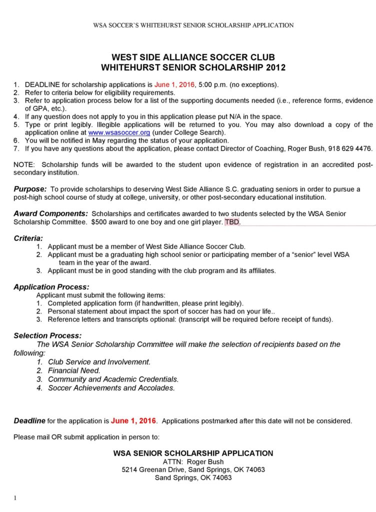 Scholarship Application Template 48
