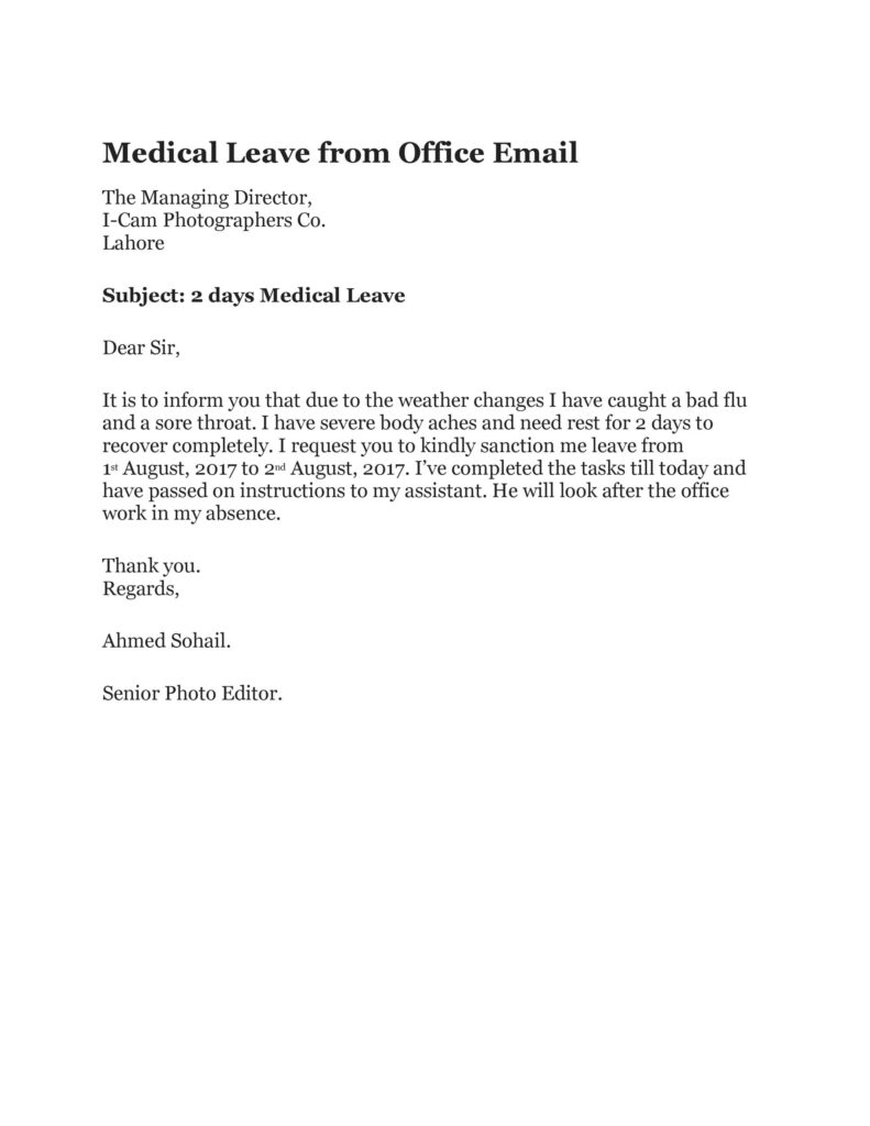 Sick Leave Email Example 38