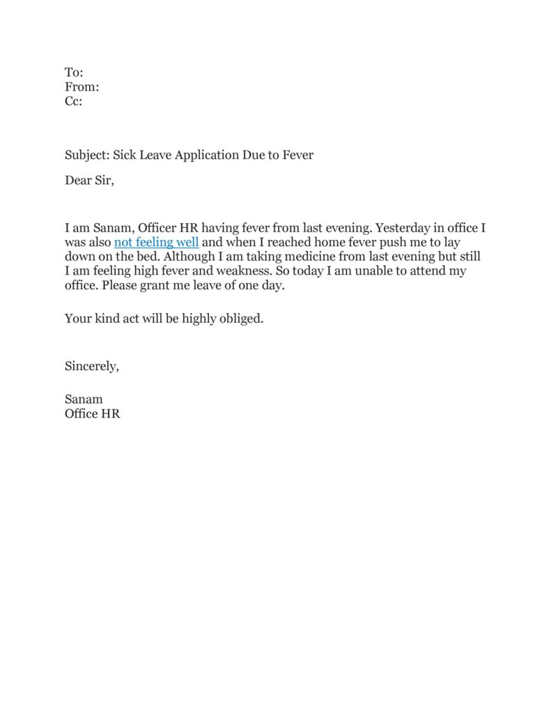 Sick Leave Email Example 39