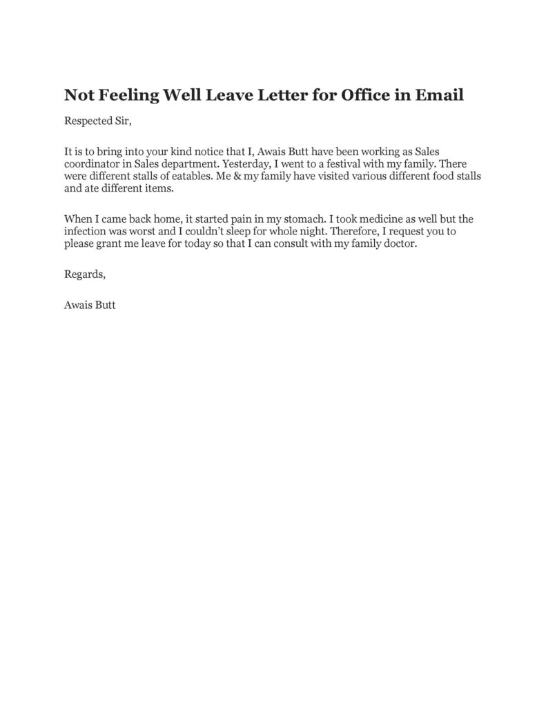 Sick Leave Email Example 49