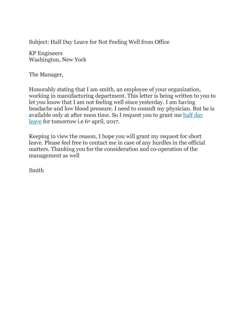 Sick Leave Email Example 50