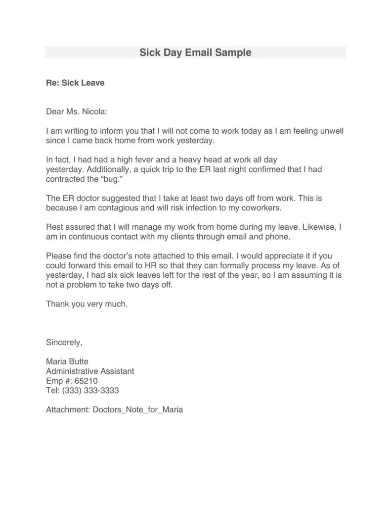 Sick Leave Email Sample 21