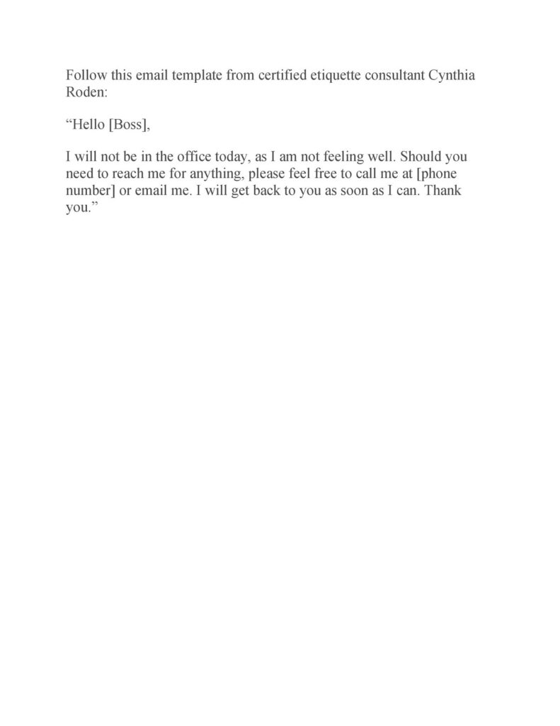Sick Leave Email Sample 26