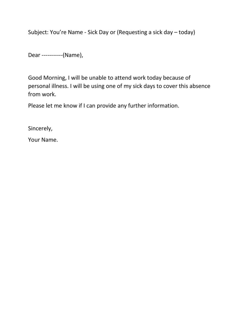 Sick Leave Email Sample 28