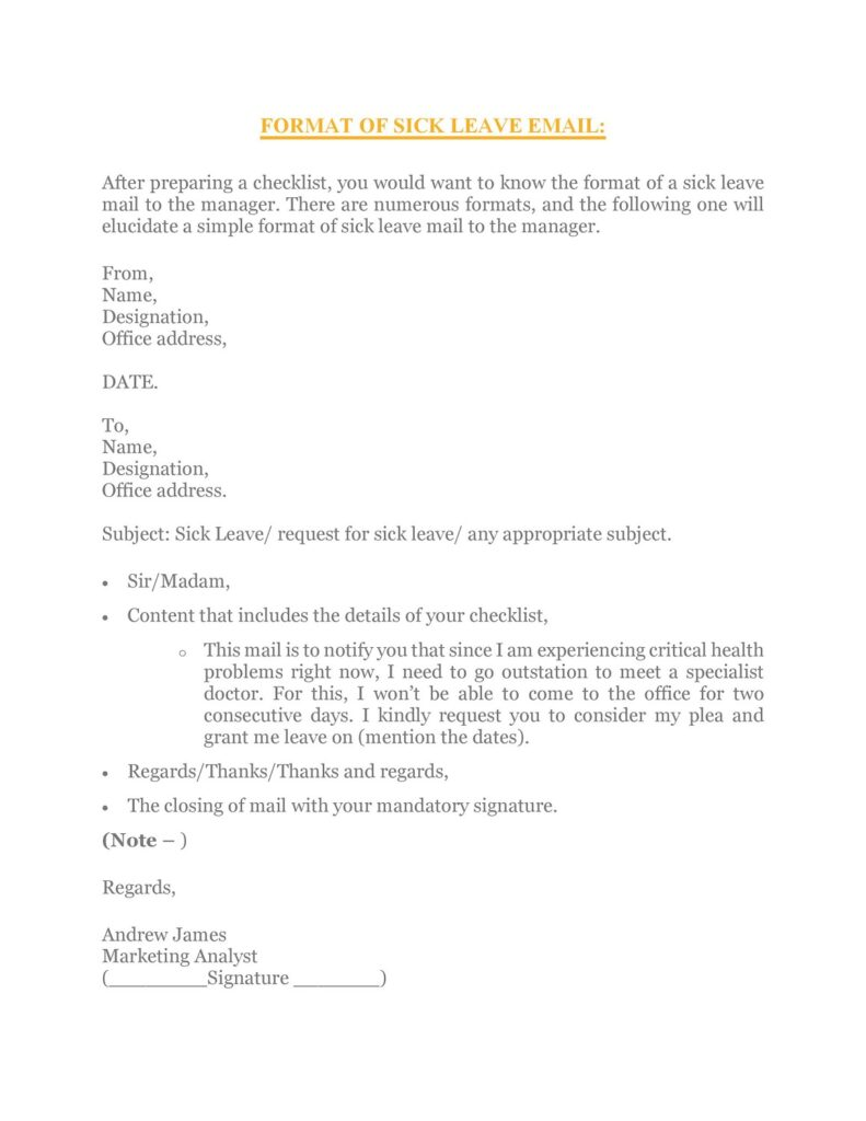 Sick Leave Email Sample 31