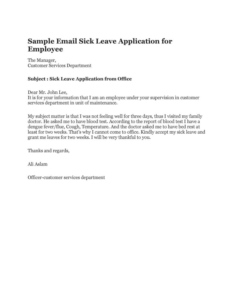 Sick Leave Email Sample 32