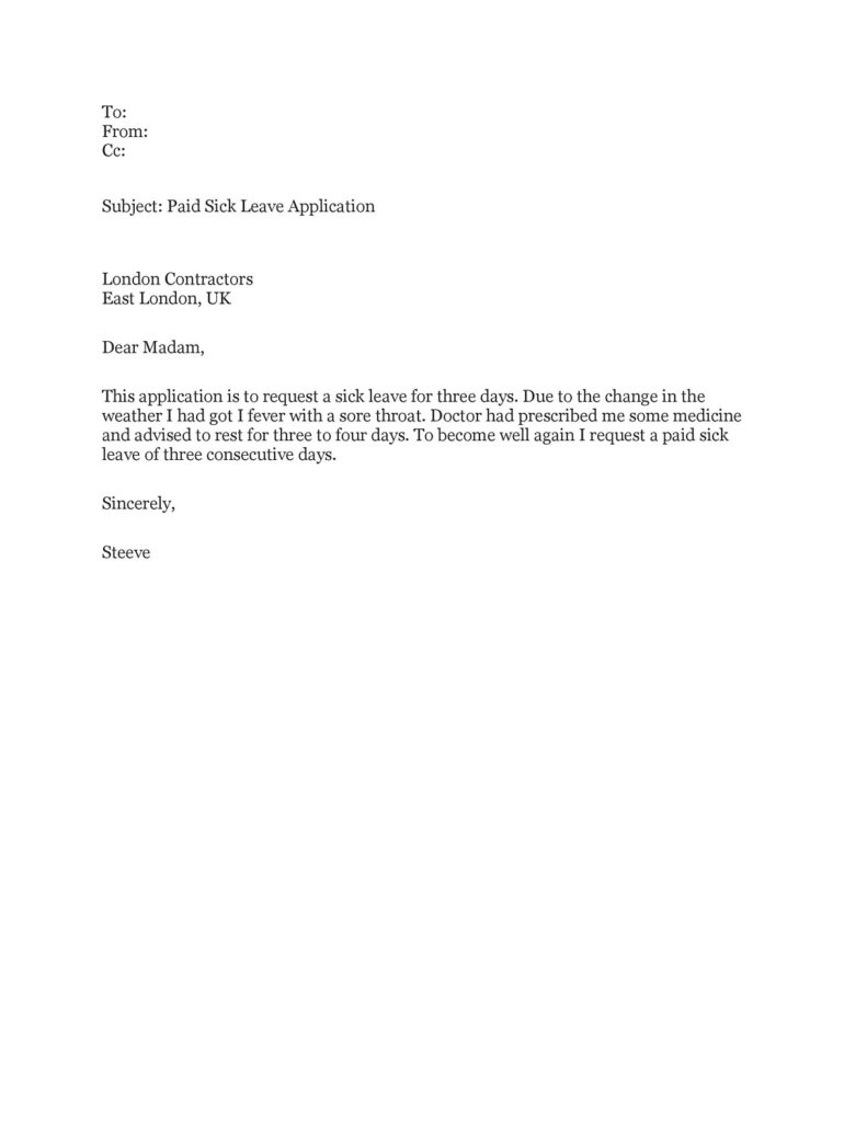 Sick Leave Email Sample 34