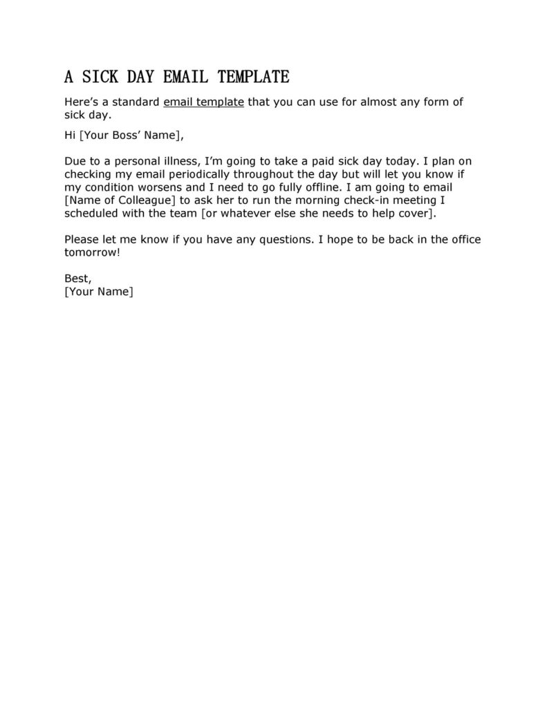 Sick Leave Email Template 13