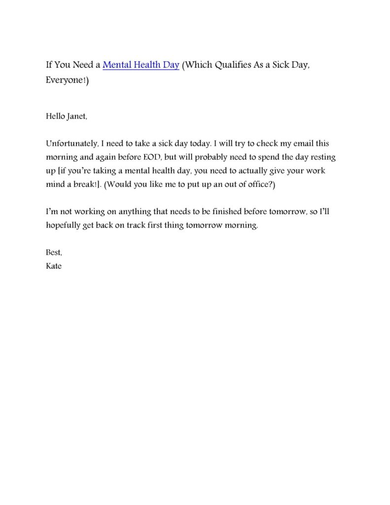 Sick Leave Email Template 17