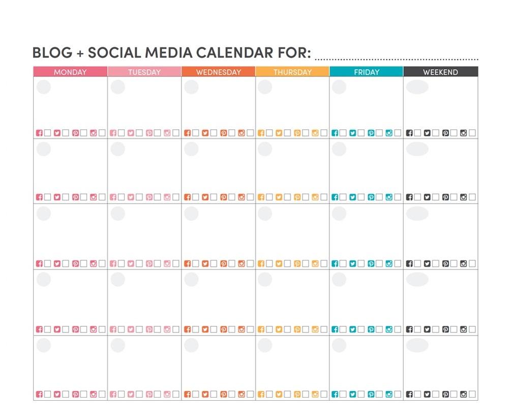Social Media Calendar Printable