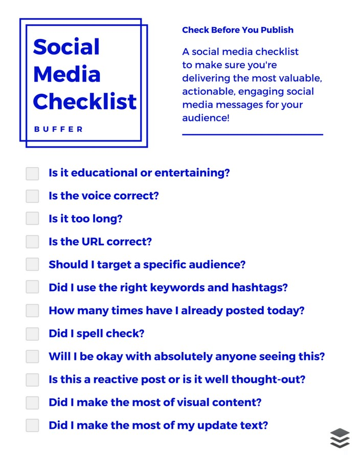 Social Media Checklist Template free