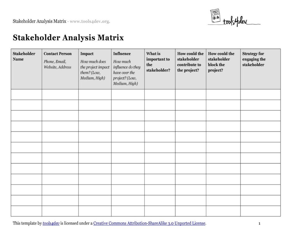 Stakeholder Analysis Template 15