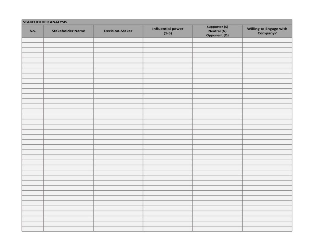 Stakeholder Analysis Template 16