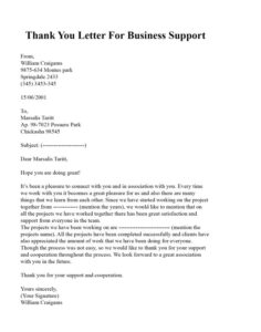 Thanks You Letter for Support