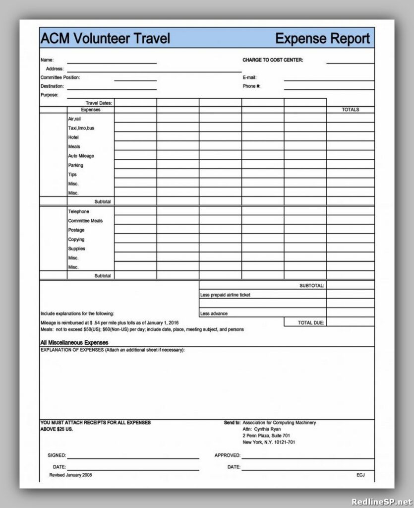 Travel Expense Report Form 10