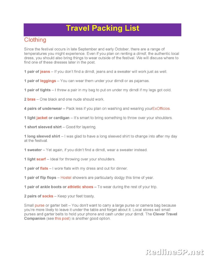 Travel Packing List Template 19