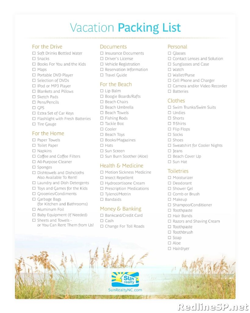 Travel Packing List Template 43