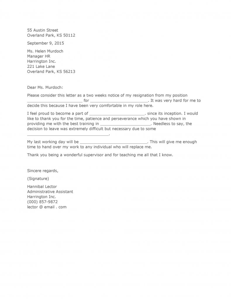 Two weeks notice letter 01