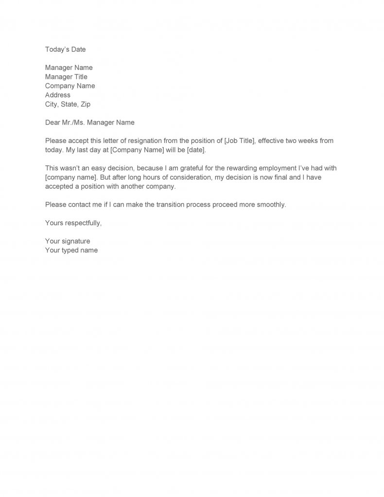 Two weeks notice letter 08