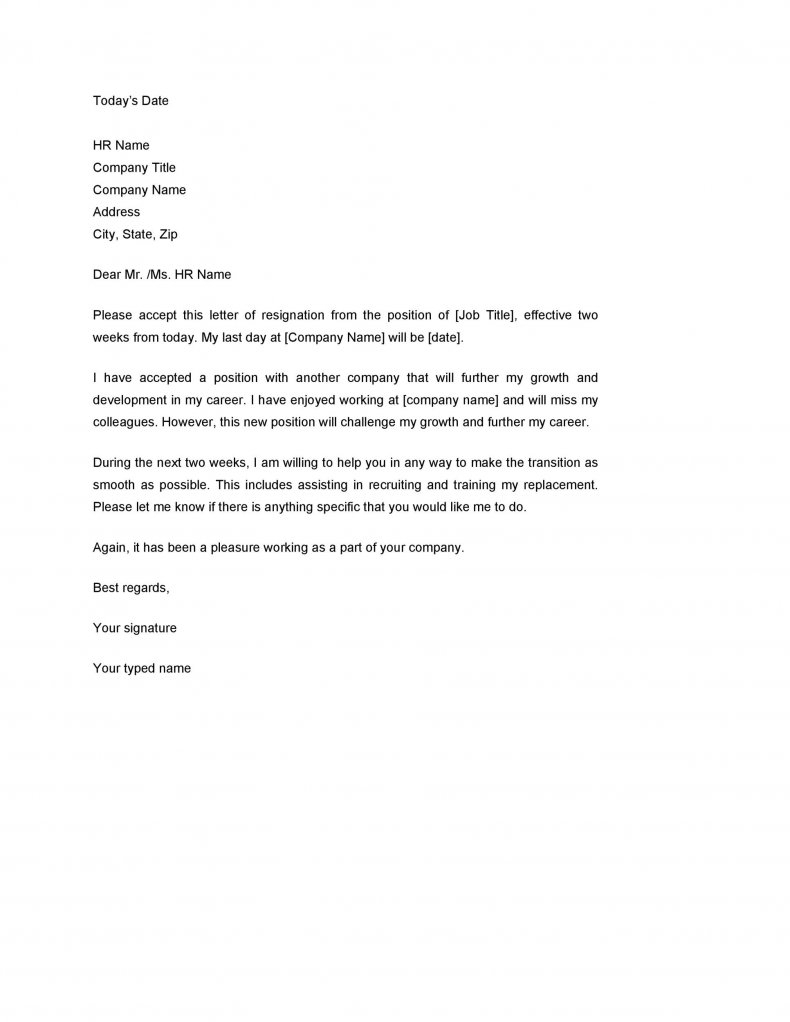 Two weeks notice letter example 01