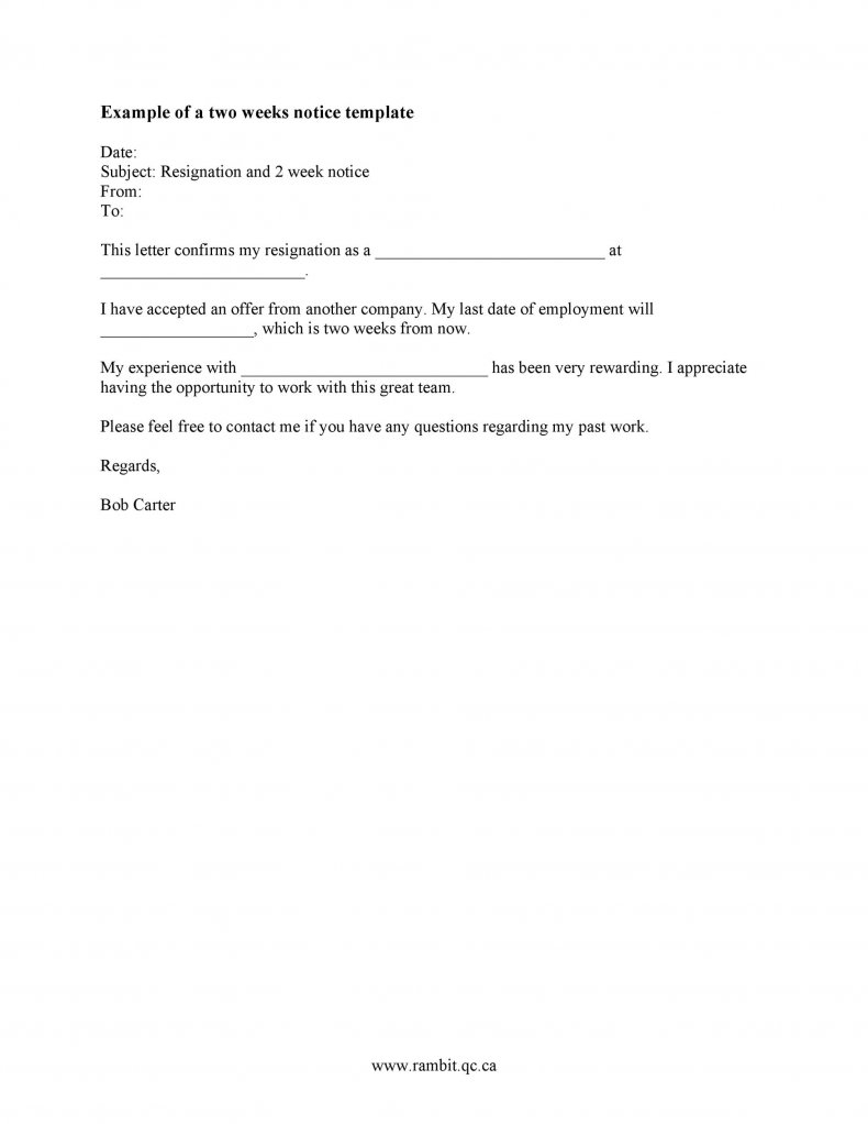 Two weeks notice letter example 04
