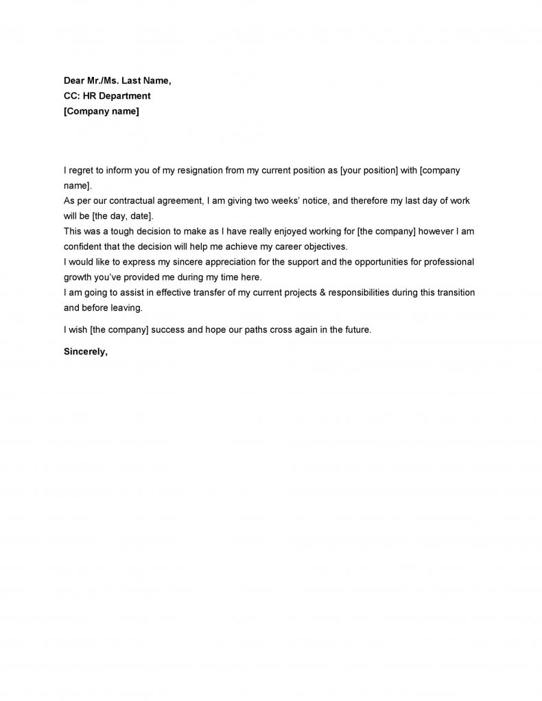 Two weeks notice letter example 06