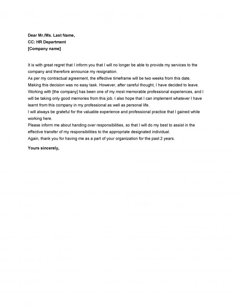 Two weeks notice letter example 07