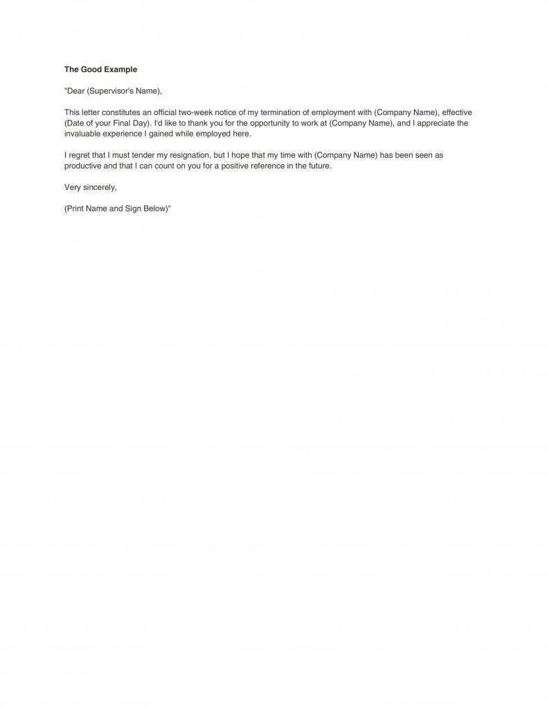 Two weeks notice letter example 08